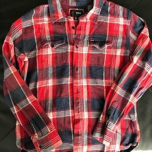 Hurley plaid flannel long sleeve shirt